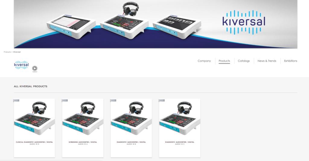 Perfil de Kiversal en el market place online Medical Expo